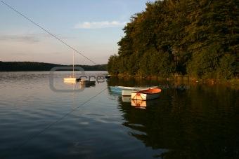 bay boats at sunset