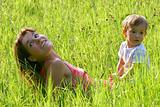 mother and son outdoor portrait