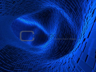 3d tunnel of blue color