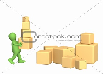 3d puppet, carrying boxes