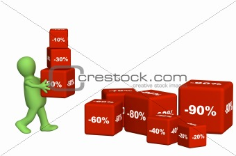 3d puppet carrying boxes