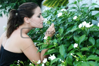 Smelling flowers