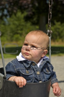 Cute One Year Old On Swing