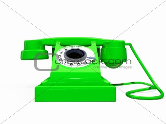 green retro telephone