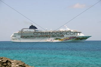 Cruise ship near island
