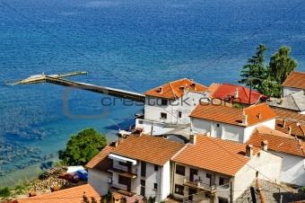 Small fishing village on the Ohrid lake