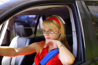 beautiful woman in the car