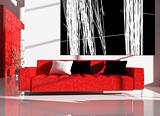 red furniture in an interior