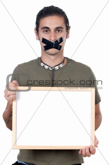 Mute boy holding poster
