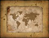 Map of the world on an ancient roll