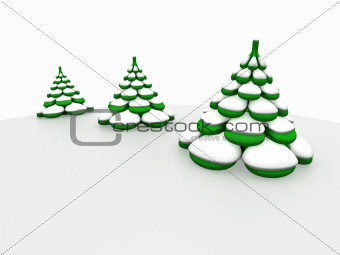 Three firs in snow
