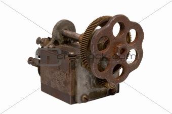 Old rusty mechanism isolated