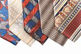 Selection of multicolored ties  close up