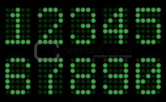 Green digits for matrix display.