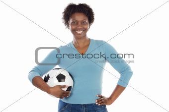beautiful girl with football ball