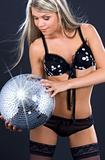 party dancer in black lingerie with disco ball