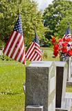 Gravesite with American Flags