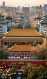 Jinshang Park Looking North at Drum Tower Beijing China  Vertica