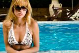 Enjoying the sun in the pool