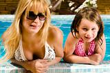 Together with my sister in the pool