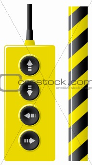 Elevator remote control and protection ribbon.