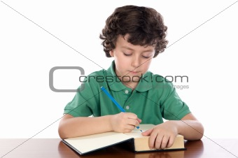 adorable child write in book