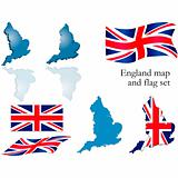 England map and flag set