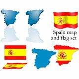 Spain map and flag set