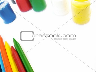 colorful crayons and water-colors
