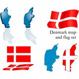 Denmark map and flag set