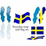 Sweden map and flag set