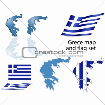 Greece map and flag set