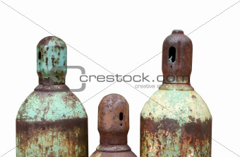 Isolated Rusty acetylene and oxygen tanks
