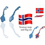 Norway map and flag set