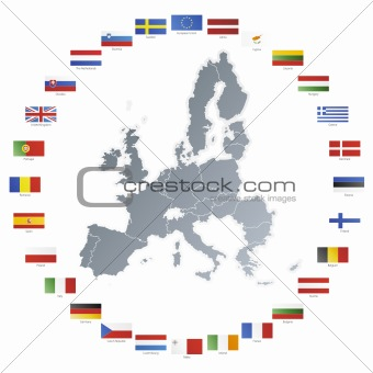 European union map with flags in circle