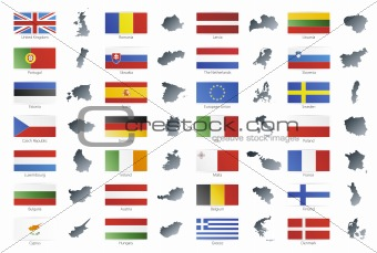 European union modern style flags with maps