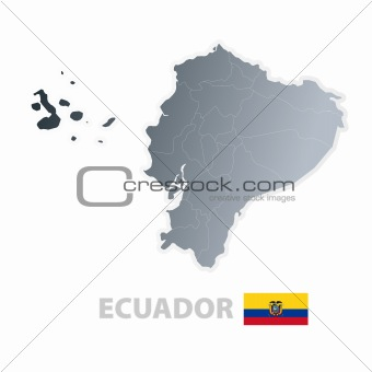 Ecuador map with official flag