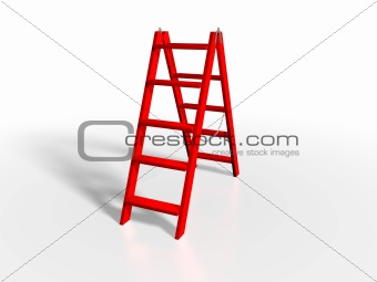 Red ladder on white background
