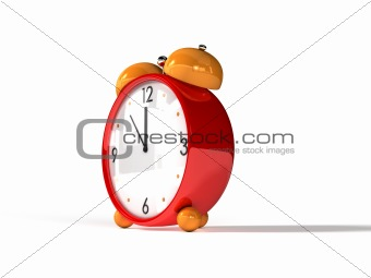 alarm clock orange on white background