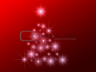 Abstract stars christmas tree on blue background