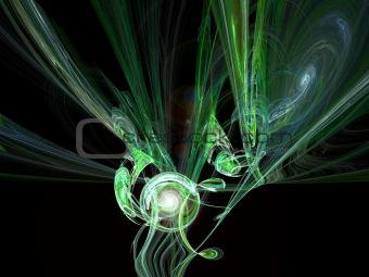 Green smoke swirl.