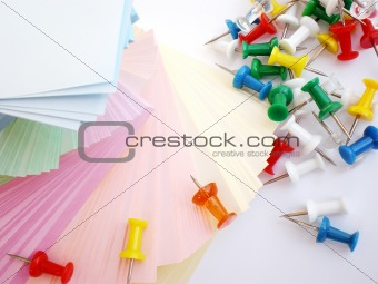 colorful sheets and push pins