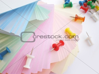 colorful sheets and push pins