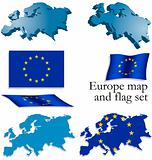 Europe map and flag set