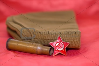 cartridge on red background