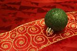 Sparkling Green Ball on Ribbon
