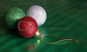 Three Shiny Christmas Baubles