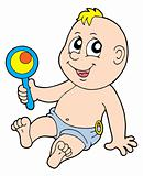Baby with rattle vector illustration