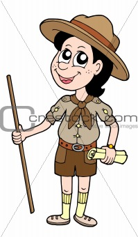 Boy scout with walking stick