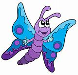 Cute blue and purple butterfly vector illustration